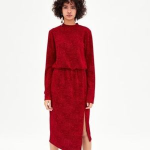 Zara Trafaluc Jaquard Red Midi Dress Medium NWT